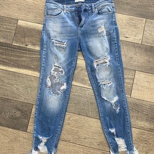 Cello distressed with raw hem jeans!